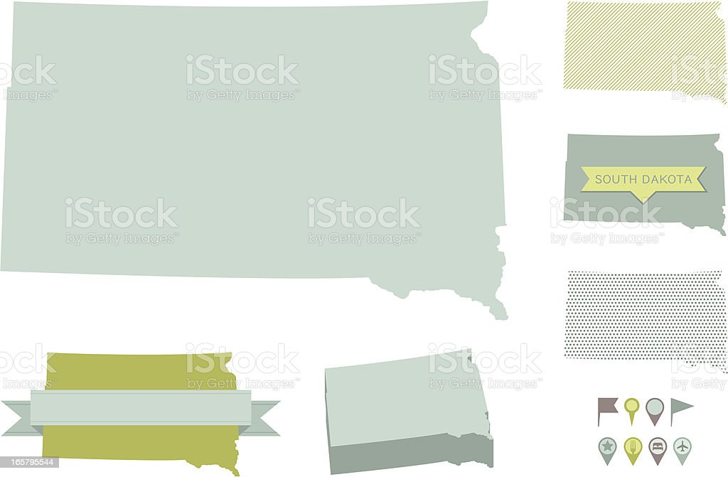 South Dakota State Maps vector art illustration