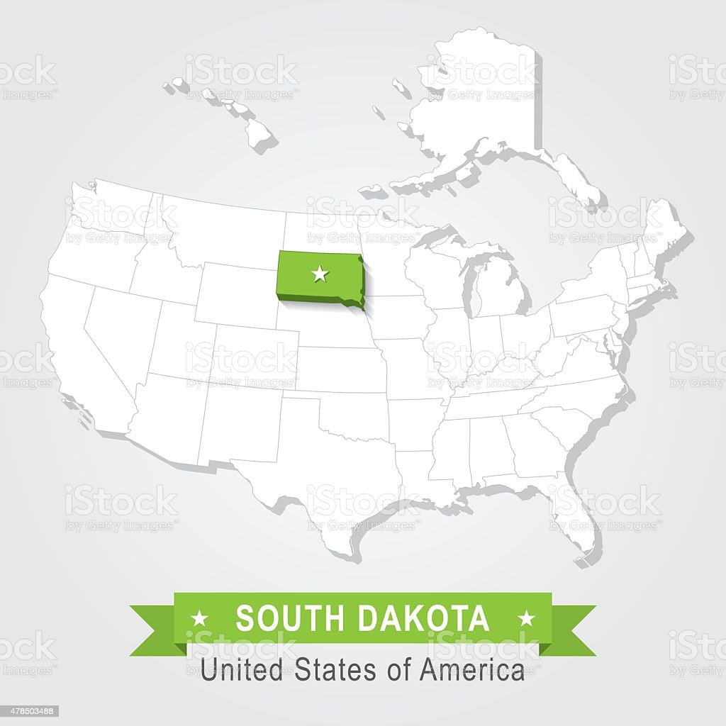 South Dakota state. USA administrative map. vector art illustration