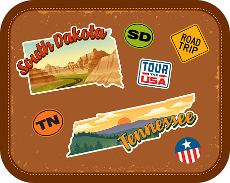 South Dakota, Tennessee travel stickers with scenic attractions and retro text on vintage suitcase background