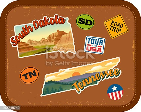 South Dakota, Tennessee travel stickers with scenic attractions and retro text. State outline shapes. State abbreviations and tour USA stickers. Vintage suitcase background