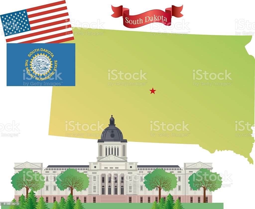 South Dakota vector art illustration