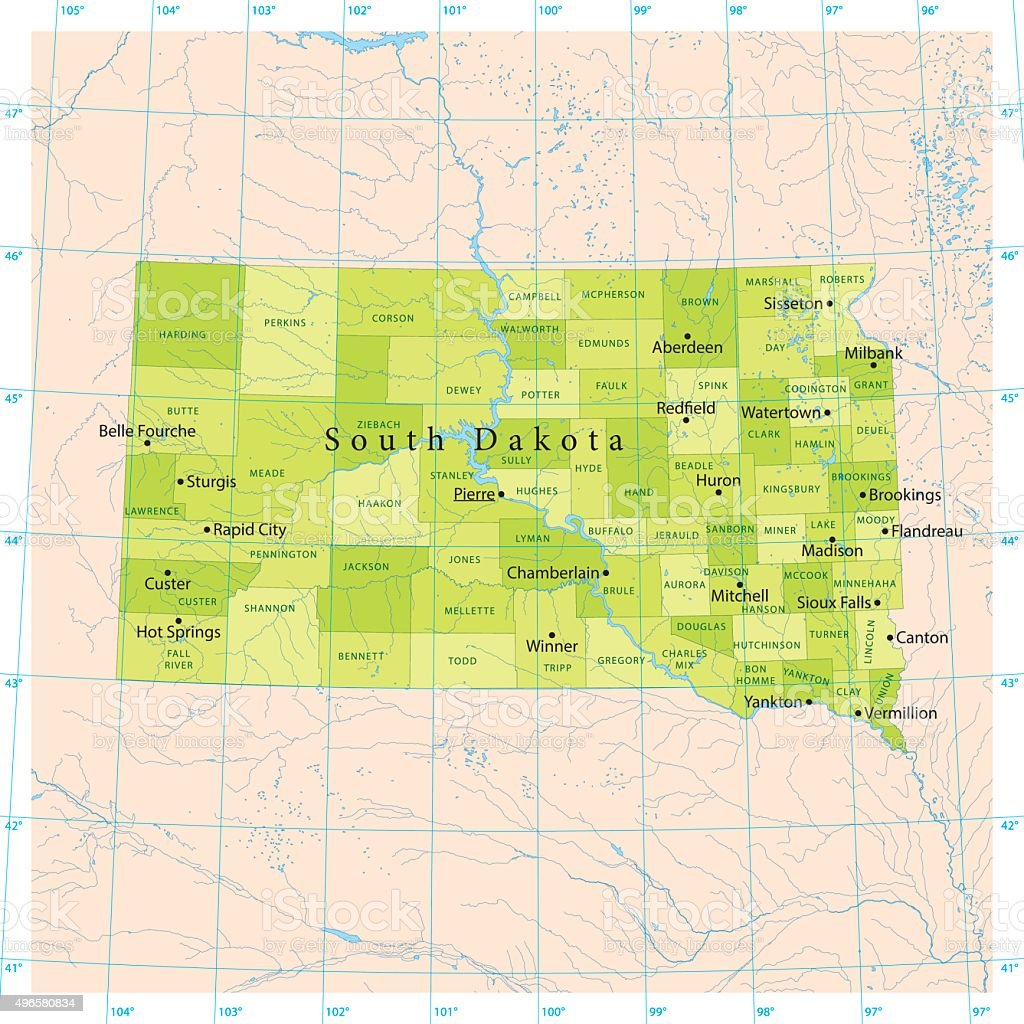 South Dakota Vector Map vector art illustration
