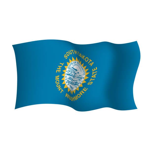 ilustraciones, imágenes clip art, dibujos animados e iconos de stock de dakota del sur agitando bandera. el estado del monte rushmore. ilustración vectorial. estados unidos. - mount rushmore