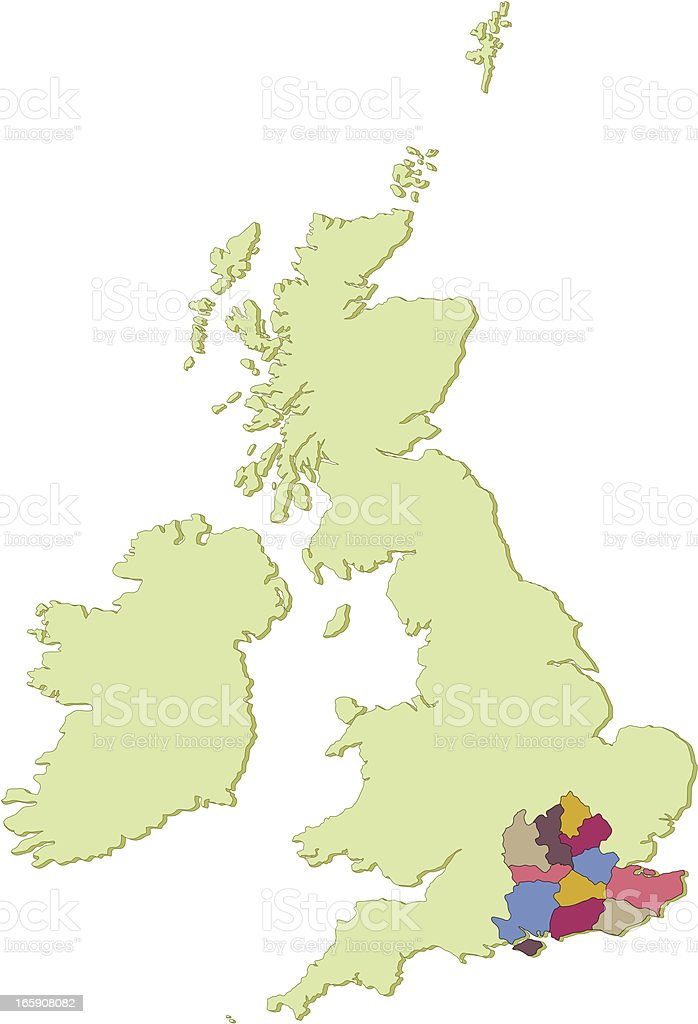 UK South East counties map vector art illustration