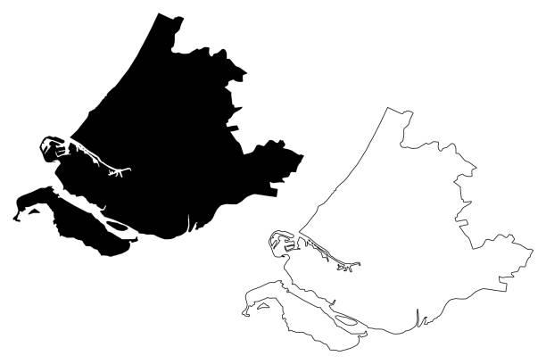 stockillustraties, clipart, cartoons en iconen met zuid-hollandse provincie (koninkrijk der nederlanden, nederland) kaart vector illustratie, krabbel schets zuid-holland kaart - den haag