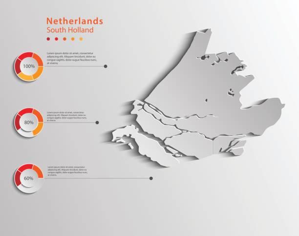 stockillustraties, clipart, cartoons en iconen met zuid-holland province, nederland provincie kaart voor grafische gebruik. - den haag