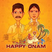 Vector design of South Indian couple wishing Happy Onam in Indian art style