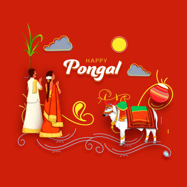 South Indian Couple Doing Surya (Sun) Worship With Decorative Ox Character And Tradition Dish Mud Pot On Red Background For Happy Pongal. vector art illustration