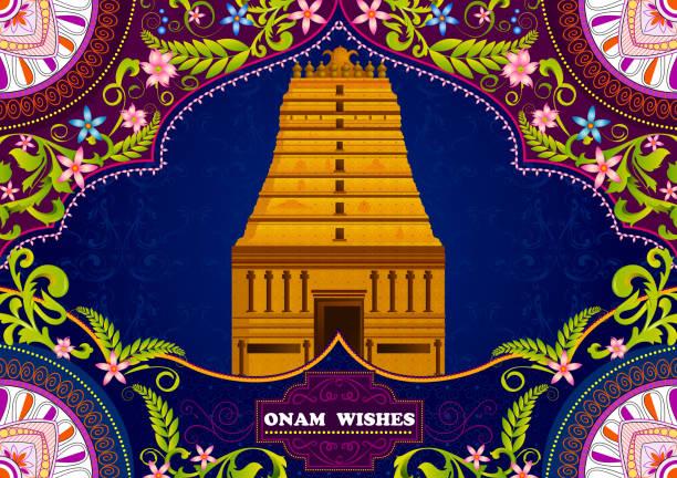 south indian temple structure building for happy onam - madurai stock-grafiken, -clipart, -cartoons und -symbole