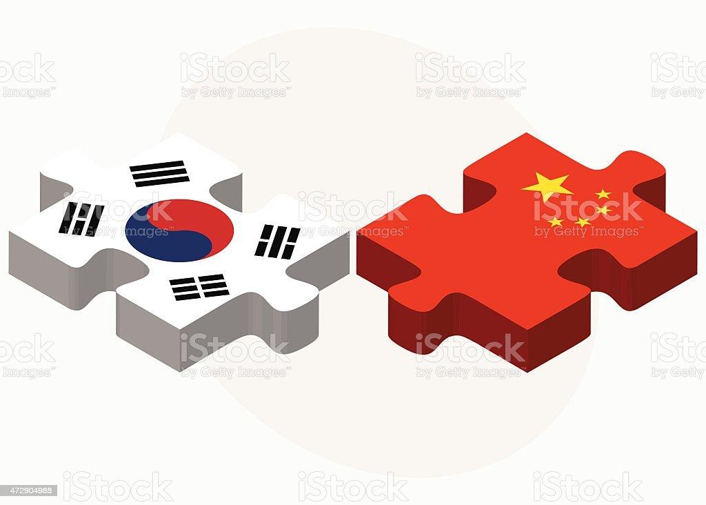Coreia do Sul e a China Flags em quebra-cabeça - ilustração de arte em vetor