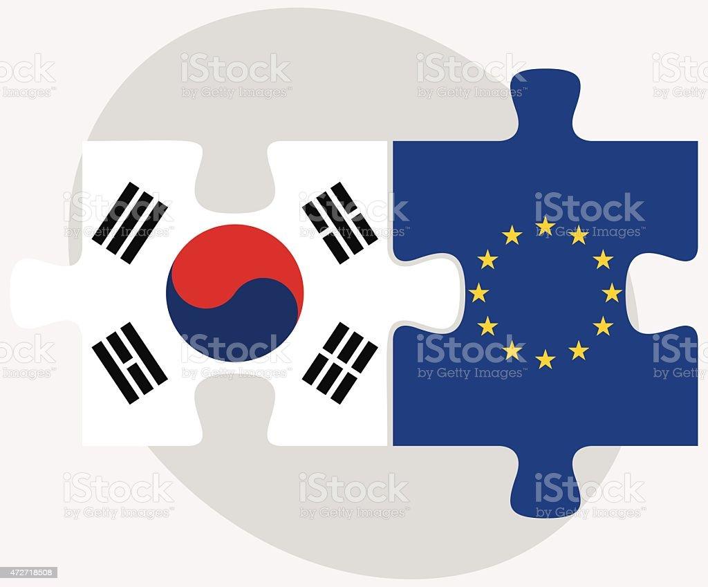 Coreia do Sul e a União Europeia Flags em quebra-cabeça - ilustração de arte em vetor