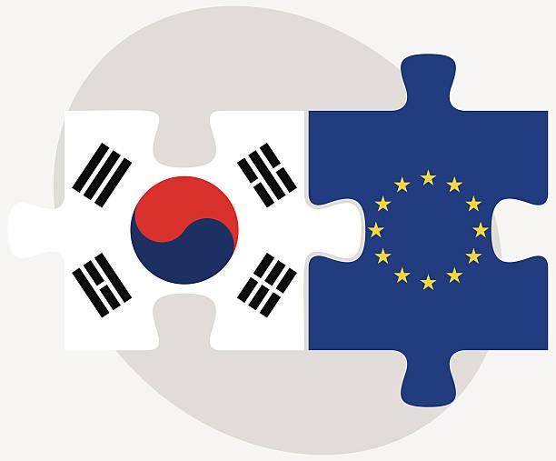 ilustrações, clipart, desenhos animados e ícones de coreia do sul e a união europeia flags em quebra-cabeça - bandeira da coreia