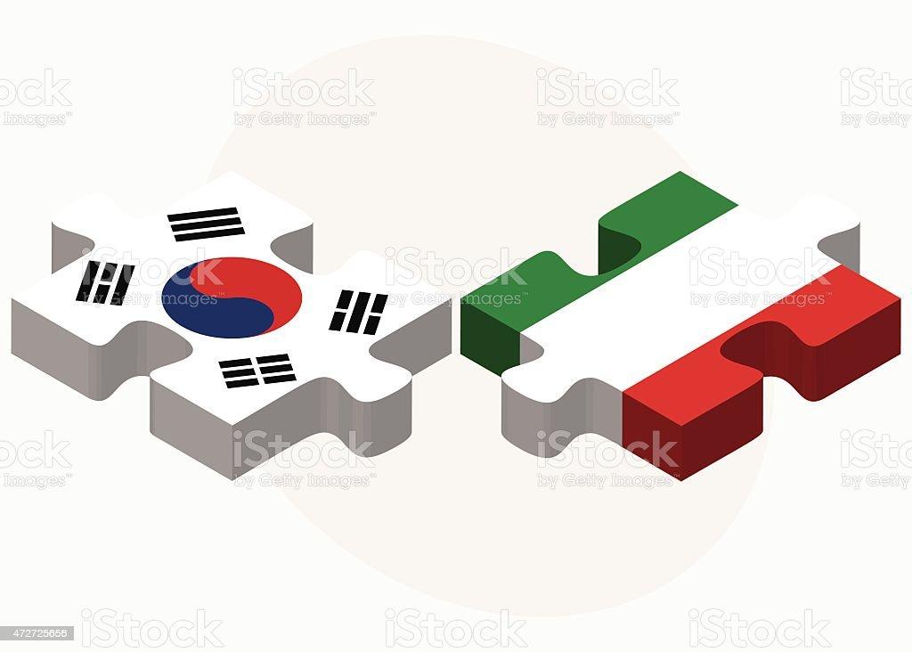 A Coreia do Sul e Itália Flags em quebra-cabeça - ilustração de arte em vetor