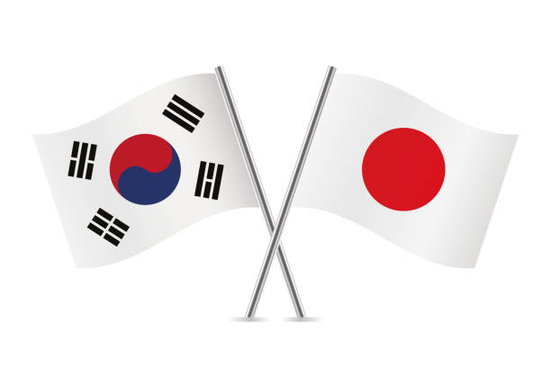 South Korea and Japan flags. Vector illustration. vector art illustration