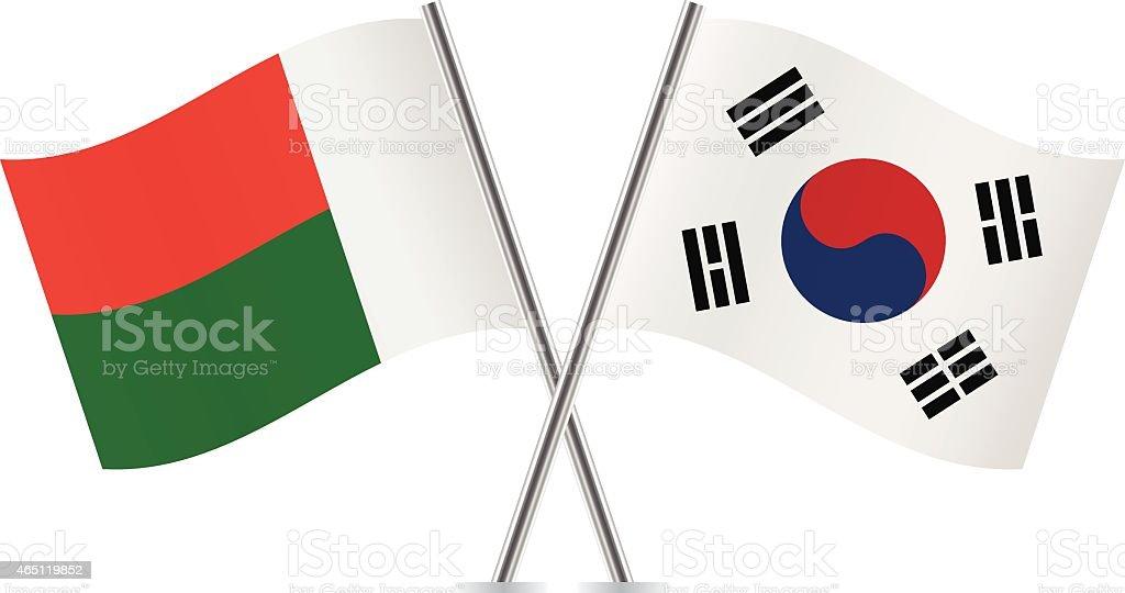 A Coreia do Sul e Madagascar flags. Vetor. - ilustração de arte em vetor