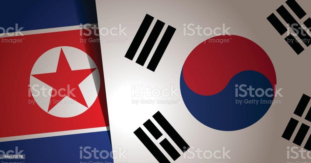 Fundo de bandeira Coreia do Sul e Coreia do Norte - ilustração de arte em vetor