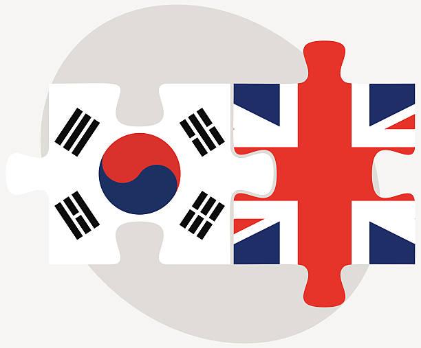 ilustrações, clipart, desenhos animados e ícones de coreia do sul e o reino unido flags em quebra-cabeça - bandeira da coreia