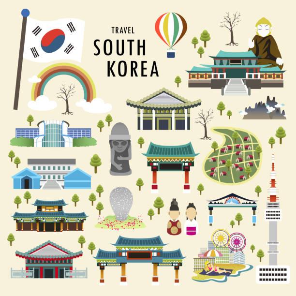 stockillustraties, clipart, cartoons en iconen met south korea attractions - zuid korea