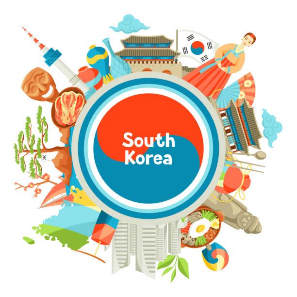 ilustrações, clipart, desenhos animados e ícones de projeto de plano de fundo de coreia do sul. objetos e símbolos tradicionais coreanos - bandeira da coreia