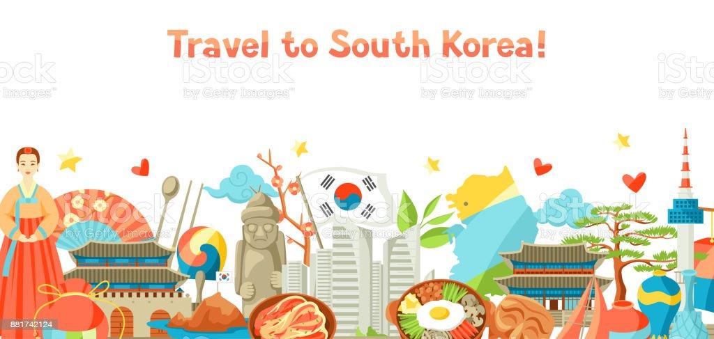 Projeto de bandeira da Coreia do Sul. Objetos e símbolos tradicionais coreanos - ilustração de arte em vetor
