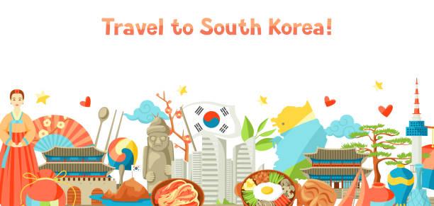 ilustrações, clipart, desenhos animados e ícones de projeto de bandeira da coreia do sul. objetos e símbolos tradicionais coreanos - bandeira da coreia