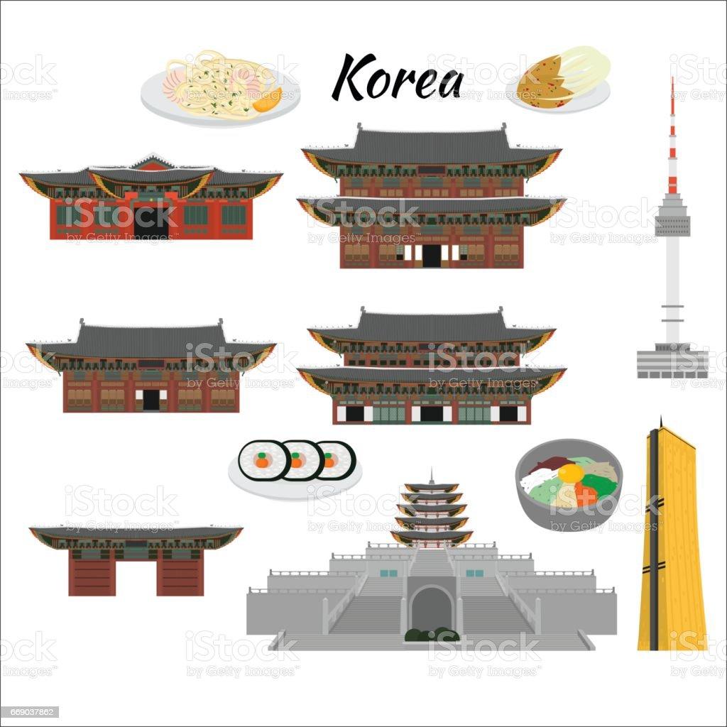Corea Del Sur Elementos De La Historieta Plana Diseño De País Hito ...