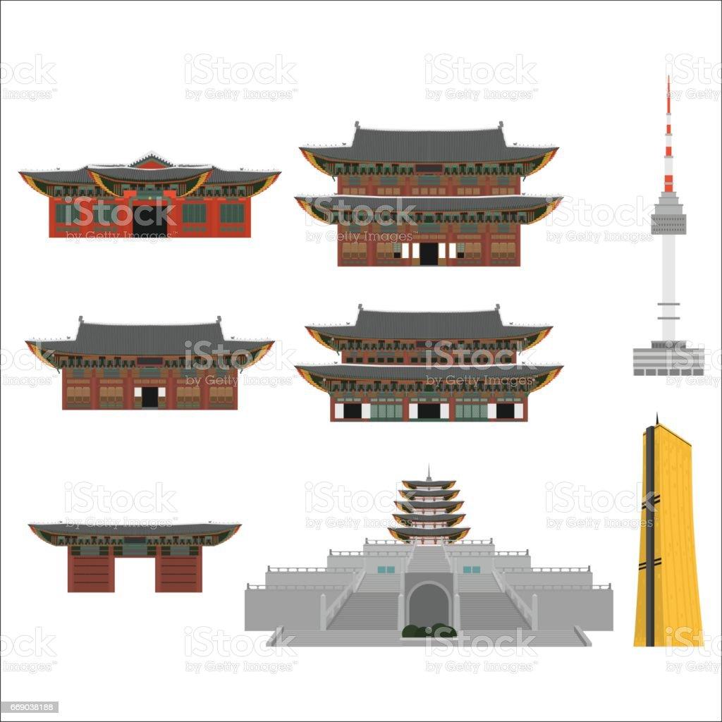 Elementos de desenho liso design país Coreia do Sul. Marco histórico de viagens, lugar de turismo de Seoul. Mundo férias viagens turismo Ásia coleção de construção. Arquitetura asiática isolada - ilustração de arte em vetor