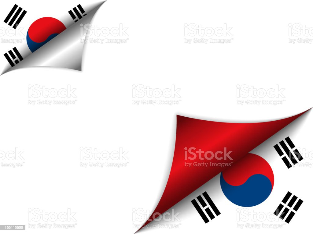 South Korea Country Flag Turning Page vector art illustration