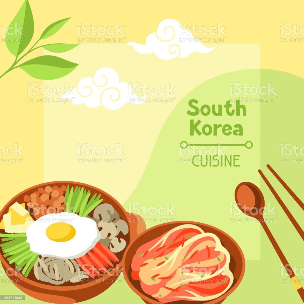 Culinária da Coreia do Sul. Projeto de bandeira coreana com símbolos tradicionais e objetos - ilustração de arte em vetor