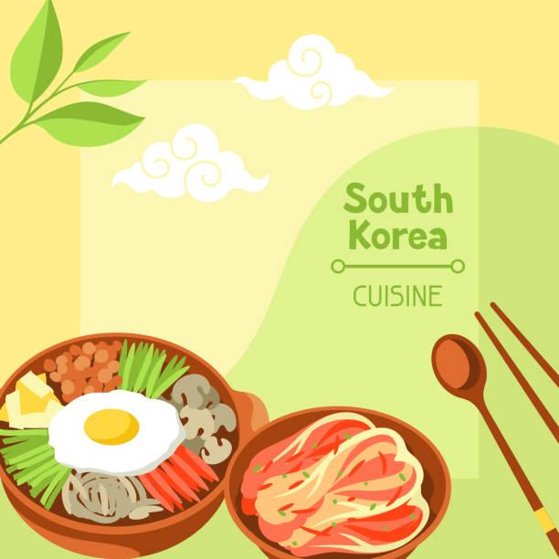 ilustrações, clipart, desenhos animados e ícones de culinária da coreia do sul. projeto de bandeira coreana com símbolos tradicionais e objetos - bandeira da coreia