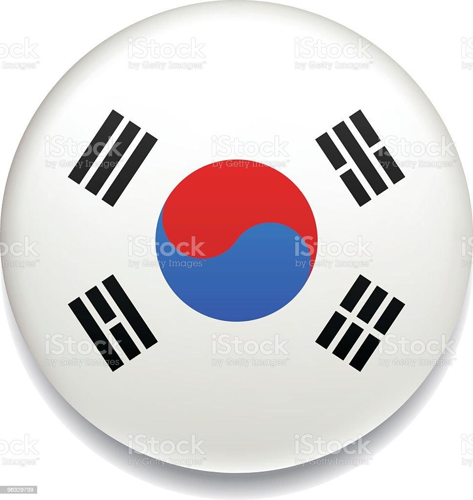 韓国の国旗ボタン ベクターアートイラスト