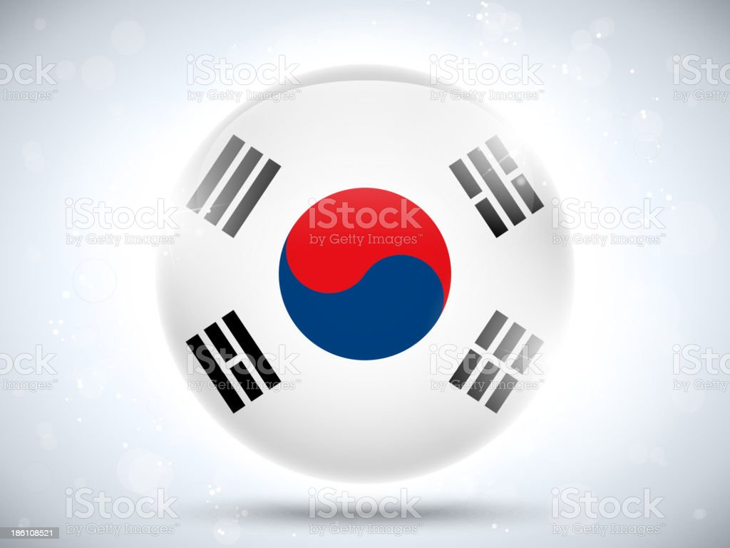 韓国の光沢のあるボタンフラグ ベクターアートイラスト