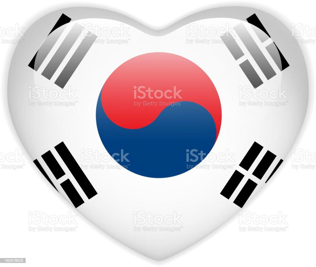 Coreia do Sul botão de bandeira de coração brilhante - ilustração de arte em vetor