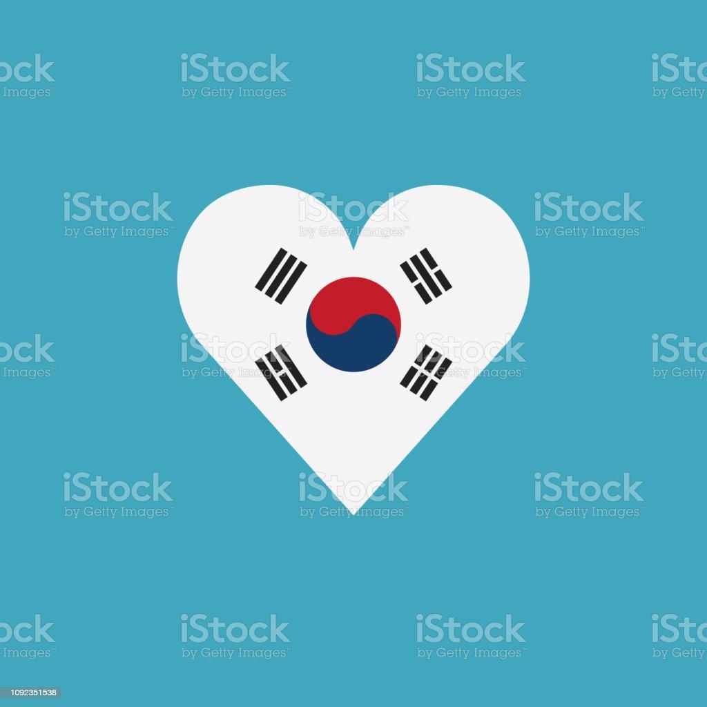 Ícone de bandeira Coreia do Sul em forma de coração no projeto liso - ilustração de arte em vetor