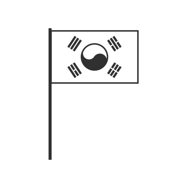 South Korea flag icon in black outline flat design vector art illustration
