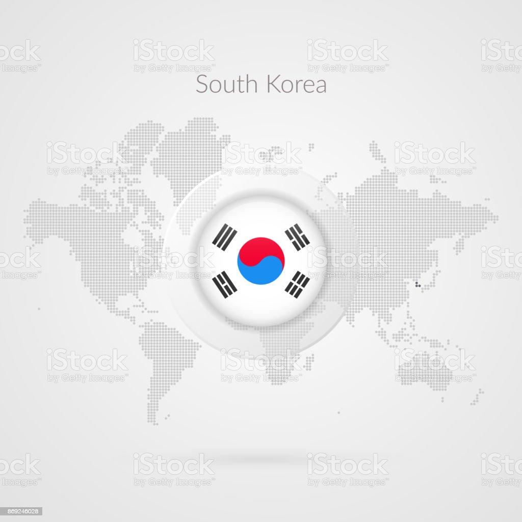Ícone de bandeira da Coreia do Sul. Símbolo de infográfico do vetor mapa do mundo. Sinal mundial global. Modelo coreano para o negócio, projeto, design web, apresentação, meios de comunicação de marketing. Ilustração pontilhada - ilustração de arte em vetor