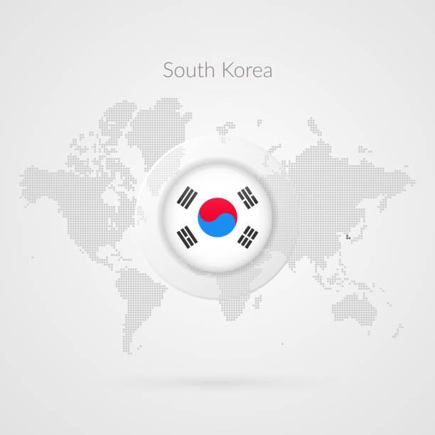 ilustrações, clipart, desenhos animados e ícones de ícone de bandeira da coreia do sul. símbolo de infográfico do vetor mapa do mundo. sinal mundial global. modelo coreano para o negócio, projeto, design web, apresentação, meios de comunicação de marketing. ilustração pontilhada - bandeira da coreia