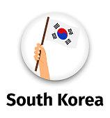 South Korea flag in hand