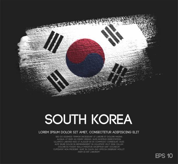 stockillustraties, clipart, cartoons en iconen met zuid-korea vlag gemaakt van glitter sparkle brush verf vector - zuid korea