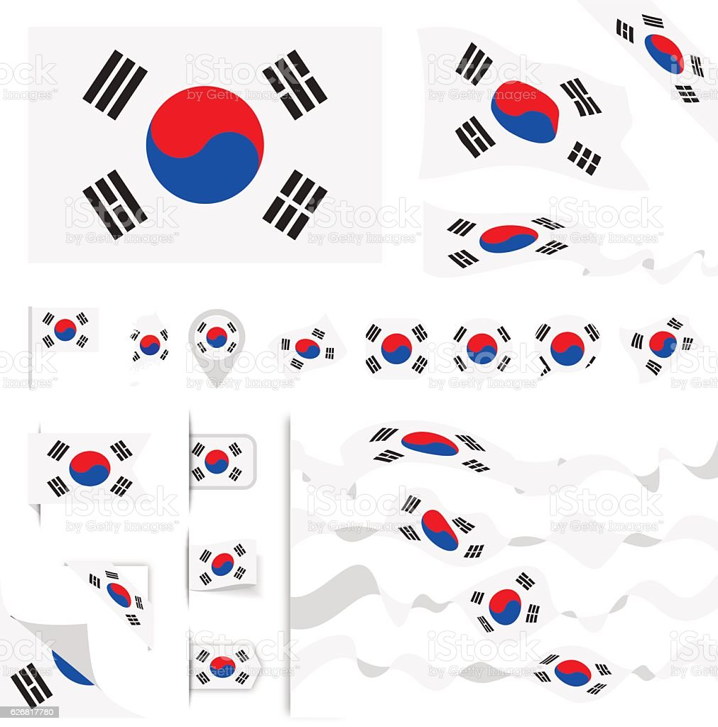 South Korea Flag Set - Illustration vectorielle