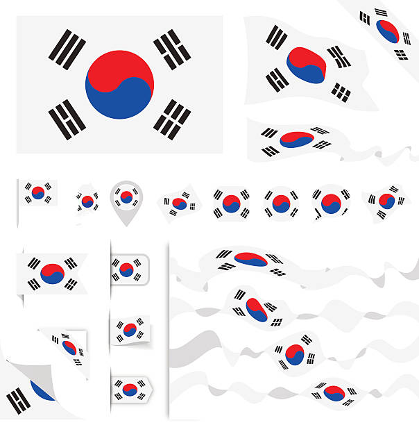 illustrations, cliparts, dessins animés et icônes de south korea flag set - drapeau coréen