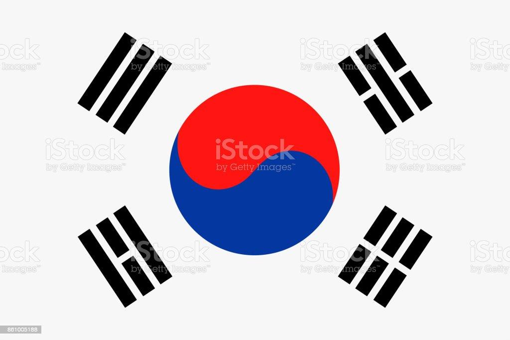 South Korea Flag Vector Flat Icon vector art illustration