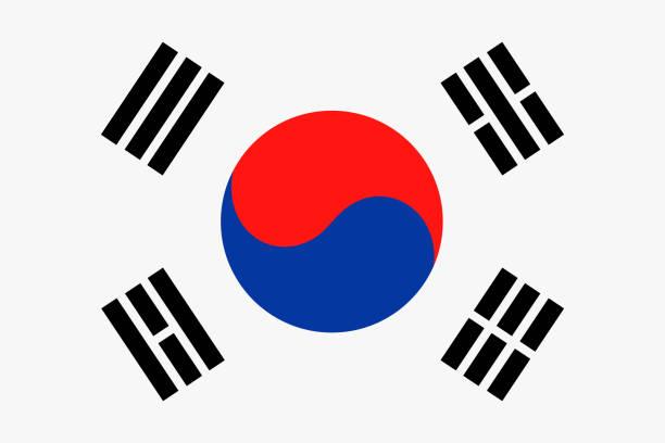 韓国旗ベクトル フラット アイコン - 韓国の国旗点のイラスト素材/クリップアート素材/マンガ素材/アイコン素材