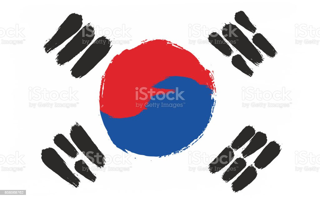 South Korea Flag Vector Hand Painted with Rounded Brush