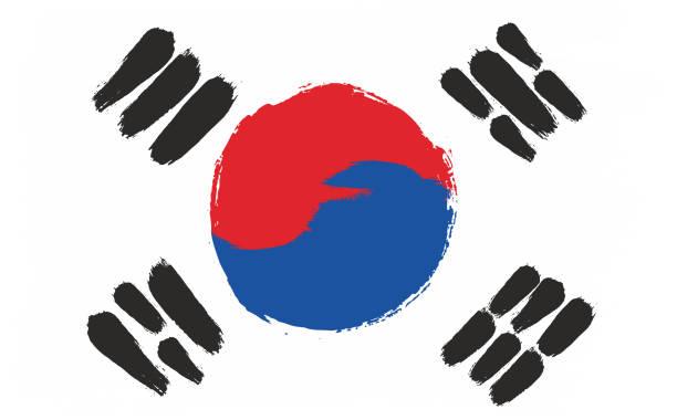 stockillustraties, clipart, cartoons en iconen met zuid-korea vlag vector hand geschilderd met afgeronde borstel - korea