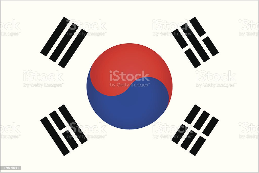 south korea flag vector art illustration