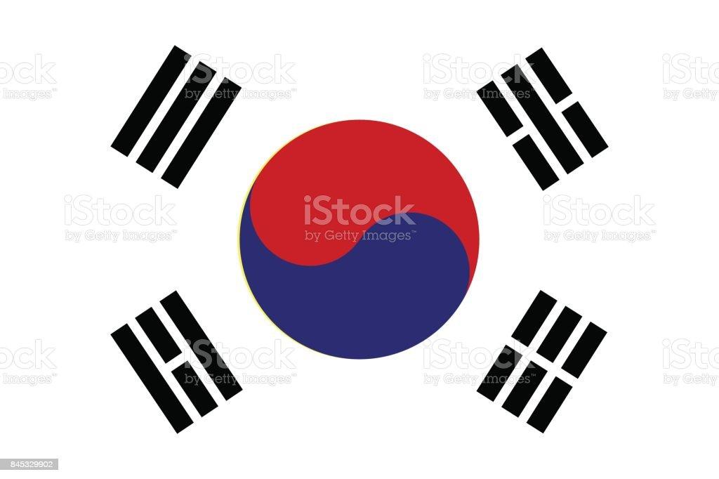 South Korea Flag. Vector illustration.
