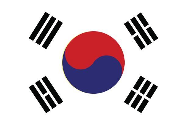 stockillustraties, clipart, cartoons en iconen met vlag van zuid-korea. vectorillustratie. - korea