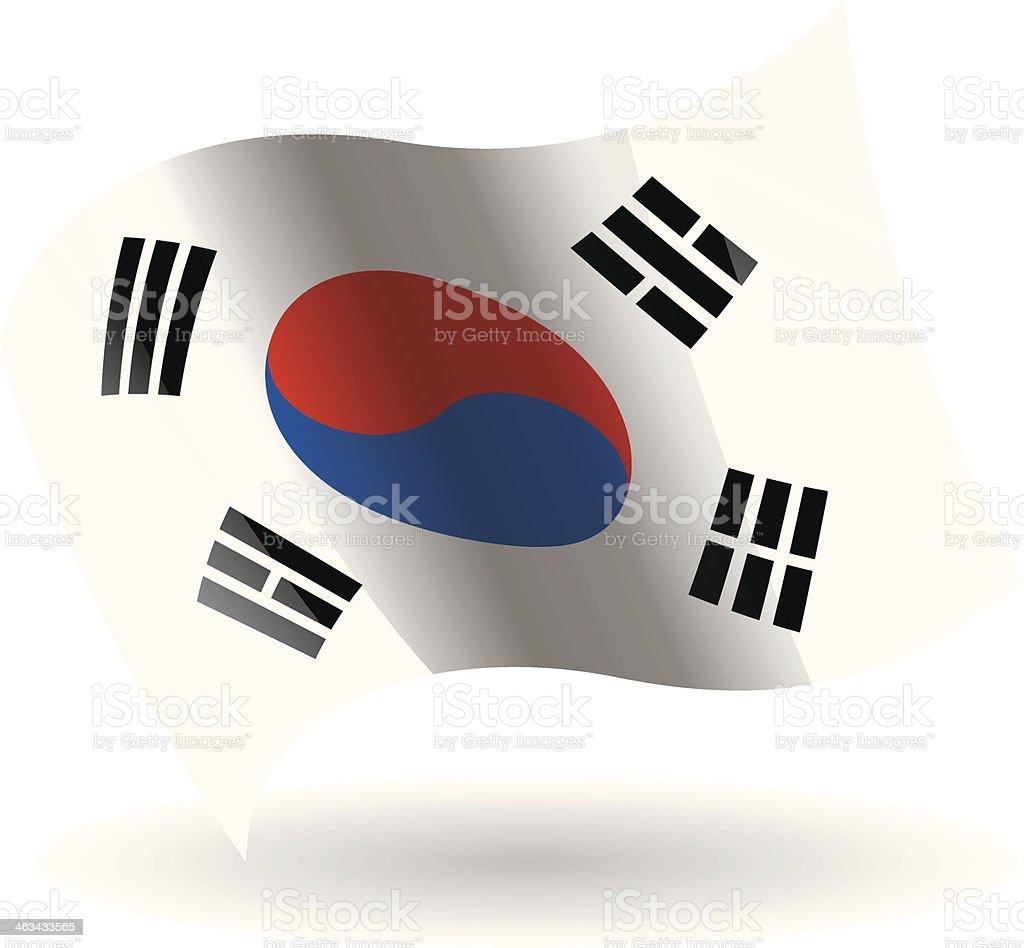 Bandeira balançando Coreia do Sul - ilustração de arte em vetor