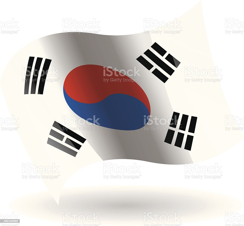 South Korea Flag Waving vector art illustration